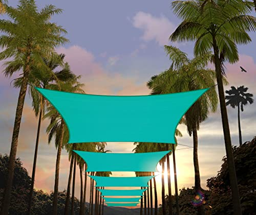 Amgo Custom Size 20' x 24' Turquoise Rectangle Sun Shade Sail ATAPS12 Canopy Awning