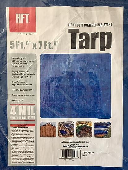 7c1f472118f1cc HFT 69136 5 x 7 ft. 6 in. Blue All Purpose Weather Resistant Tarp - -  Amazon.com