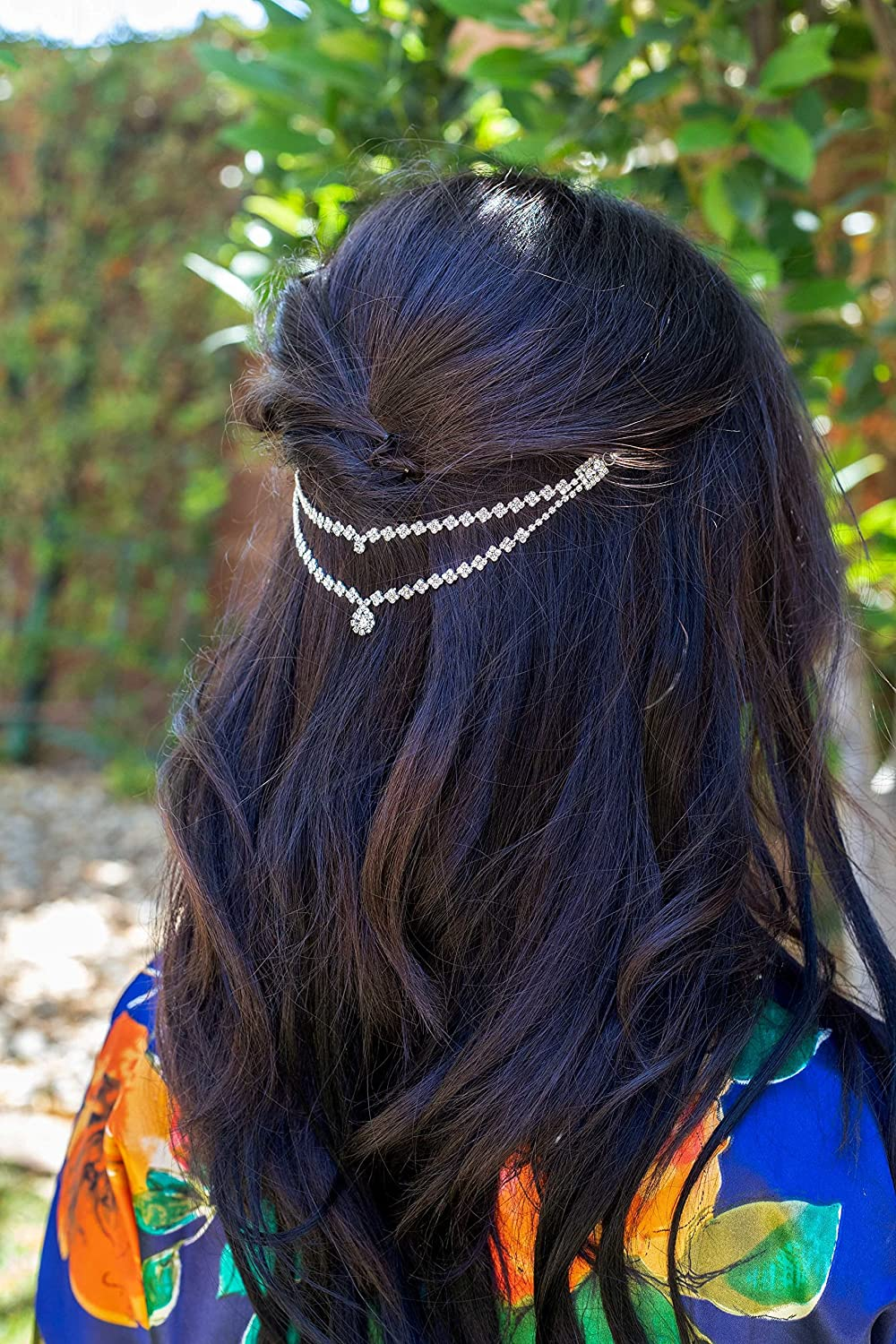 Silver Square Double Layer Wedding Hair Chain Hair Vine
