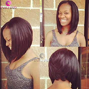 Amazon.com : 17A Pre Plucked Full Lace Human Hair Bob Wigs For ...