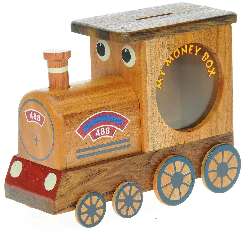 Steam train wooden money box with secret lock kids for Secret piggy bank
