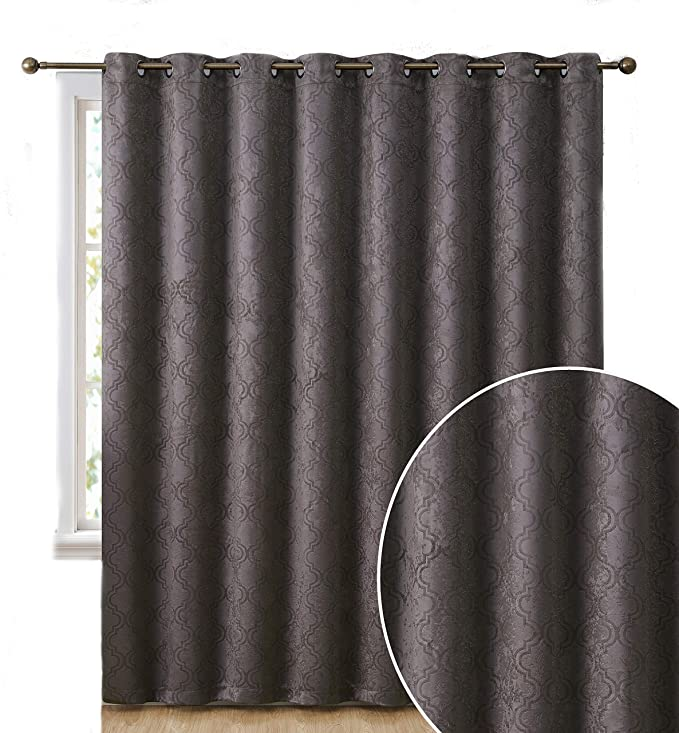 Hlc Me Redmont Lattice Extra Wide Width Thermal Insulated Energy Efficient Room Darkening Blackout Grommet Patio Door Curtain Panel For Sliding Doors 100 X 84 Inches Long Dark Grey Home Kitchen Amazon Com