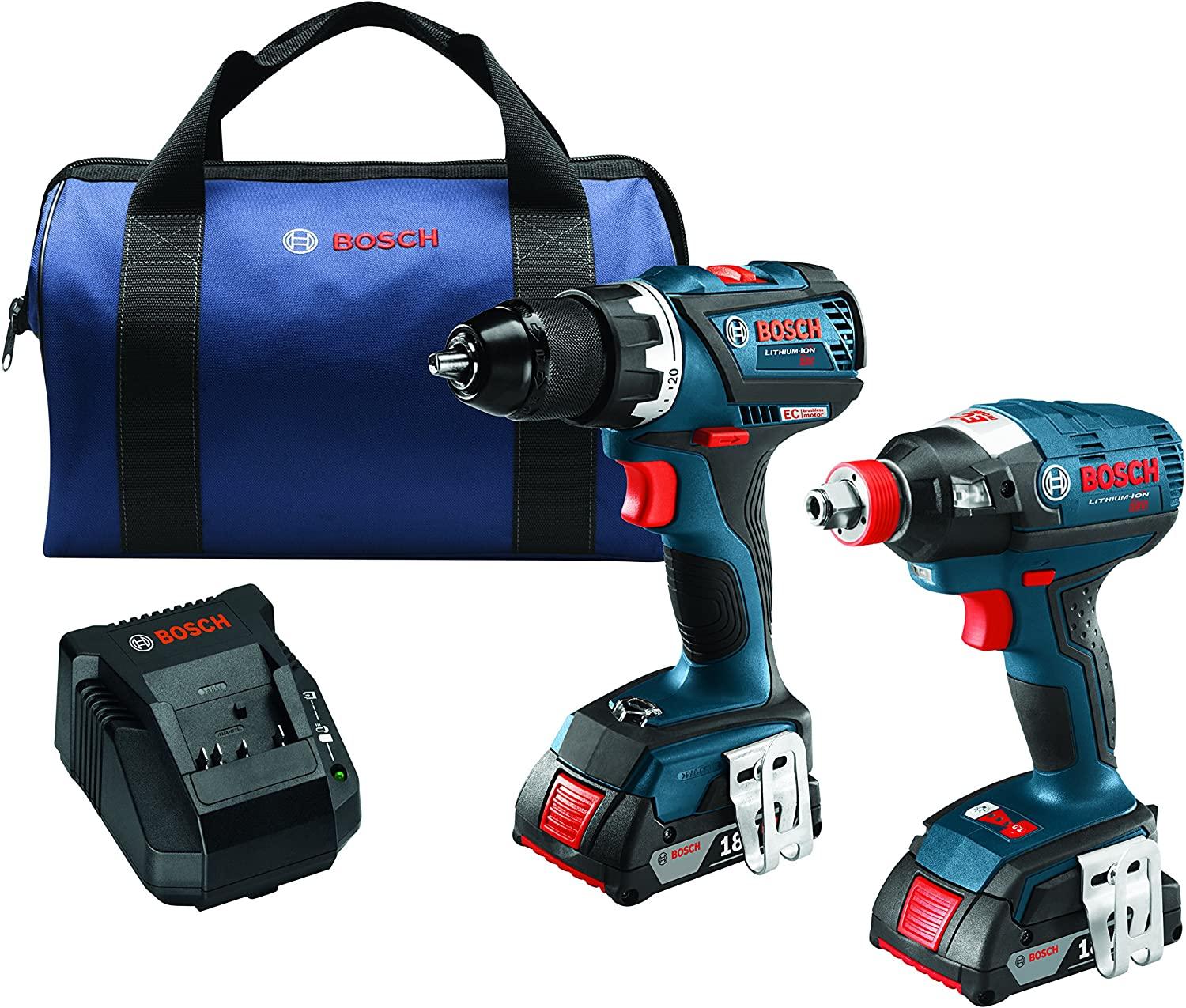 Bosch 18 V 2-Tool Combo Kit with EC Brushless 1 4 In. and 1 2 In. Socket-Ready Impact Driver and EC Brushless Compact Tough 1 2 In. Drill Driver CLPK238-181