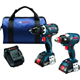 Bosch 18 V 2-Tool Combo Kit with EC Brushless 1/4 In. and 1/2 In. Socket-Ready Impact Driver and EC Brushless Compact Tough 1/2 In. Drill/Driver CLPK238-181