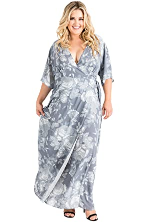 0c252f49790 Standards   Practices Plus Size Modern Women s Floral Chiffon Kimono Maxi  Dress Size 1X Grey