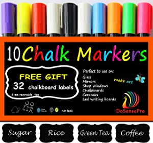 Liquid Chalk Markers Neon colors - 10 Car Window Markers Including 2 White + 32 Chalkboard Labels, for Restaurants, Bistro, Office, Home, Art, Weddings Party Decorations by DoSensePro