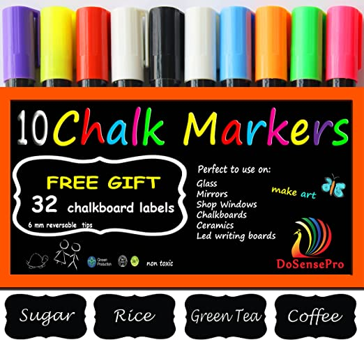 Amazon Com Liquid Chalk Markers Neon Colors 10 Car Window Markers Including 2 White 32 Chalkboard Labels For Restaurants Bistro Office Home Art Weddings Party Decorations By Dosensepro Get Yours Now