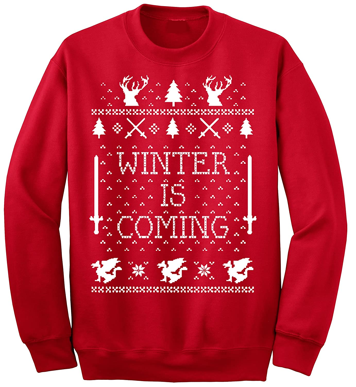 ym wear adult winter is coming ugly christmas sweater crewneck at amazon mens clothing store