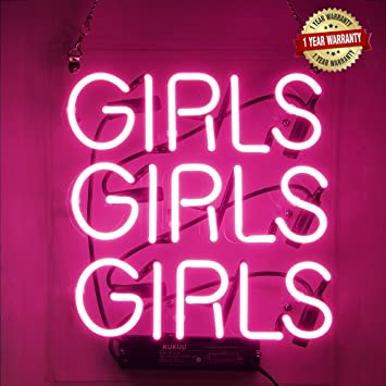 Neon Signs Girl Girls Girls Girls Neon Signs Girl Wall Decor Neon Light Sign Led Sign for Bedroom Neon Words Cool Art Neon Sign Cute Neon Lamps Home ...