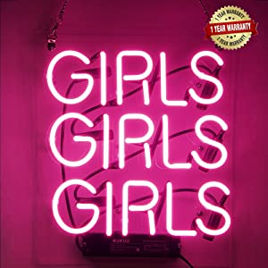 "Neon Signs Girl Girls Girls Girls Neon Signs Girl Wall Decor Neon Light Sign Led Sign for Bedroom Neon Words Cool Art Neon Sign Cute Neon Lamps Home Room Beer Bar Custom Red Neon Wall Light 12""x10.6"""