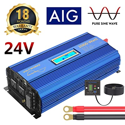 Pure Sine Wave Power Inverter 2000Watt car Converter DC 24V to 120V AC with 2 AC Outlets 2x2.4A USB Ports Remote Control and LCD Display by VOLTWORKS (24VBlue): Car Electronics