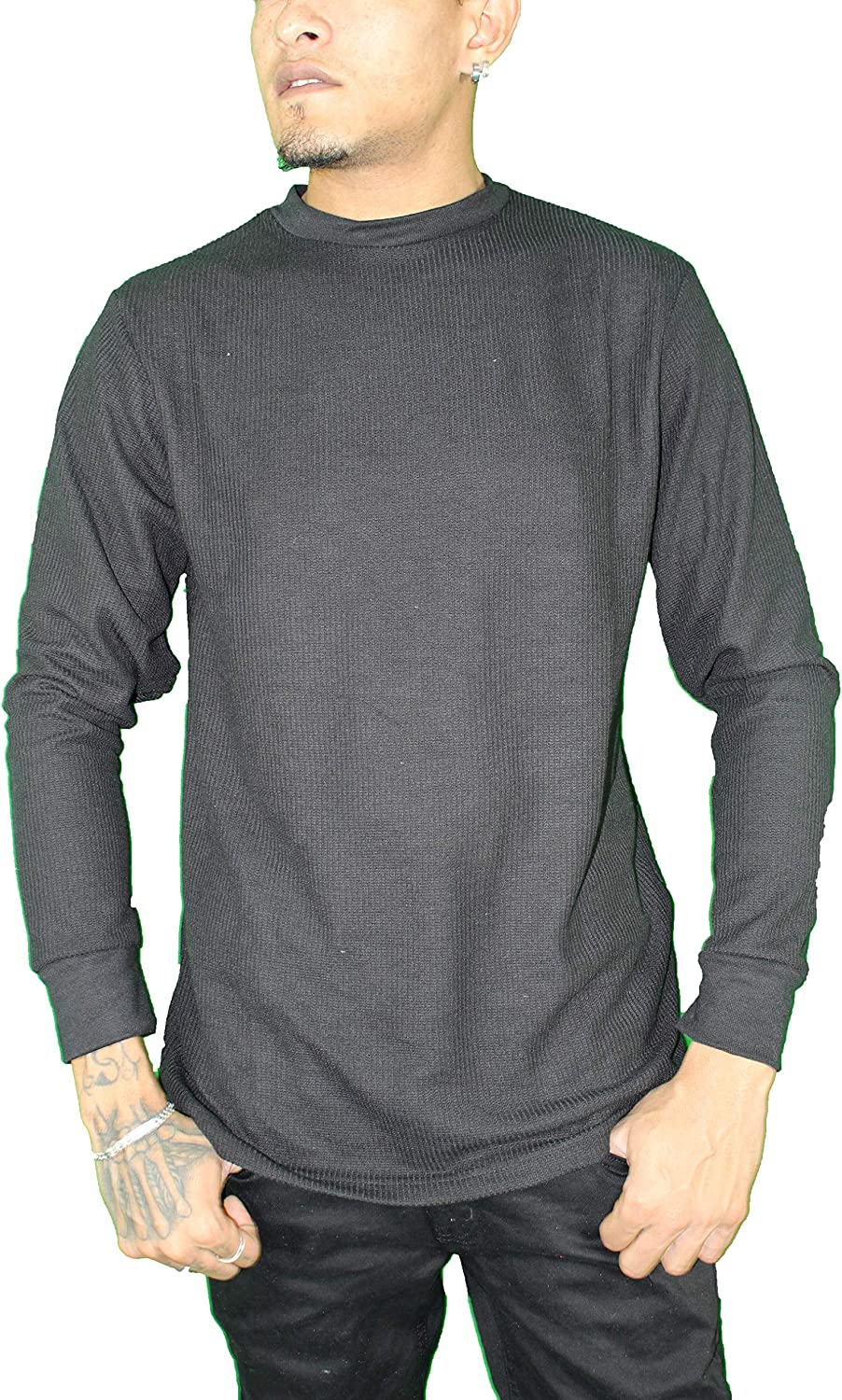 Unique Styles Mens Thermal Top Heavyweight Long Sleeve Waffle Weave Crew Neck