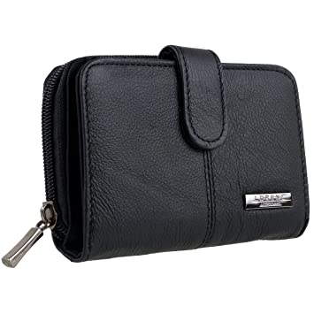 Rimbaldi® besonders flache Damen Geldbörse in Schwarz aus naturbelassenem Leder