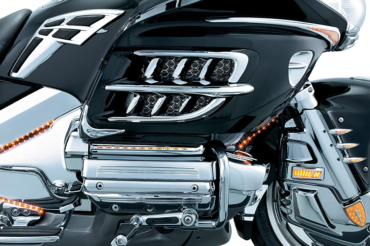 Kuryakyn 7319 Motorcycle Accent Accessory Premier Shark Gills with Radiator Vent Trim for 2001-10 Honda Gold Wing GL1800 Motorcycles Chrome