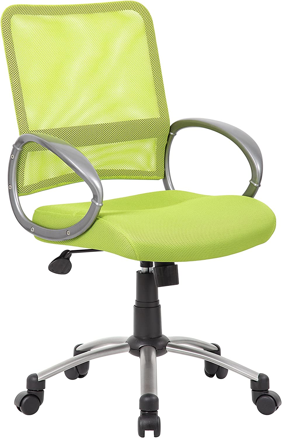Boss Office Products Mesh Back Task Chair with Pewter Finish in Lime Green