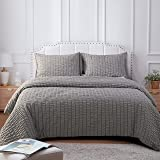 NTBAY Seersucker King Textured Duvet Cover Set, 3 Pieces (1 Duvet Cover + 2 Pillow Cases), Dark Grey Stripe Washed Microfiber