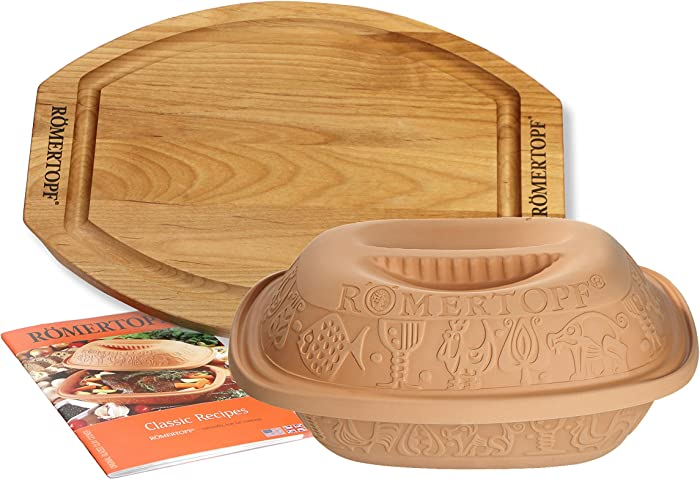 Romertopf Classic Clay Cooker Set with Cutting Board and Cookbook, 3.1 quart, Natural