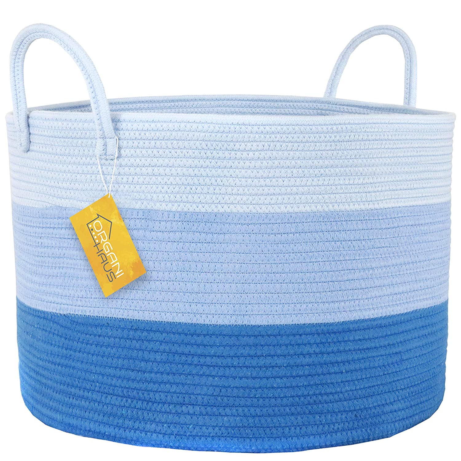 OrganiHaus XXL Extra Large Cotton Rope Basket 20x13.5 Blanket Storage Basket with Long Handles Pillow /& Blanket Basket Baby and Kids Room Toy Bin Baby Blue Decorative Clothes Hamper Basket