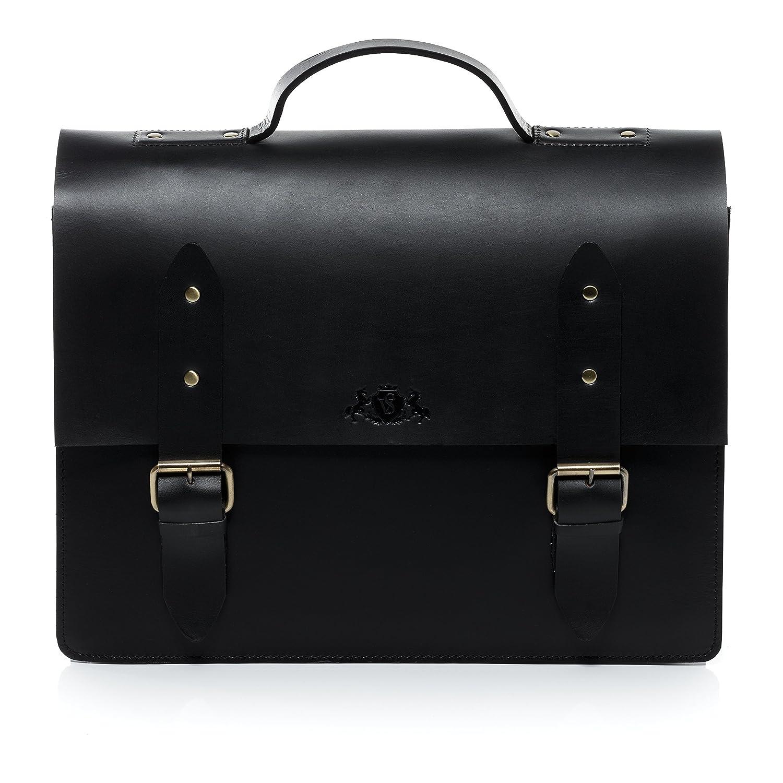 SID & VAIN grand serviette ordinateur portable 15, 4 pouces cuir véritable BOSTON cartable porte-document attaché-case sac de travail noir