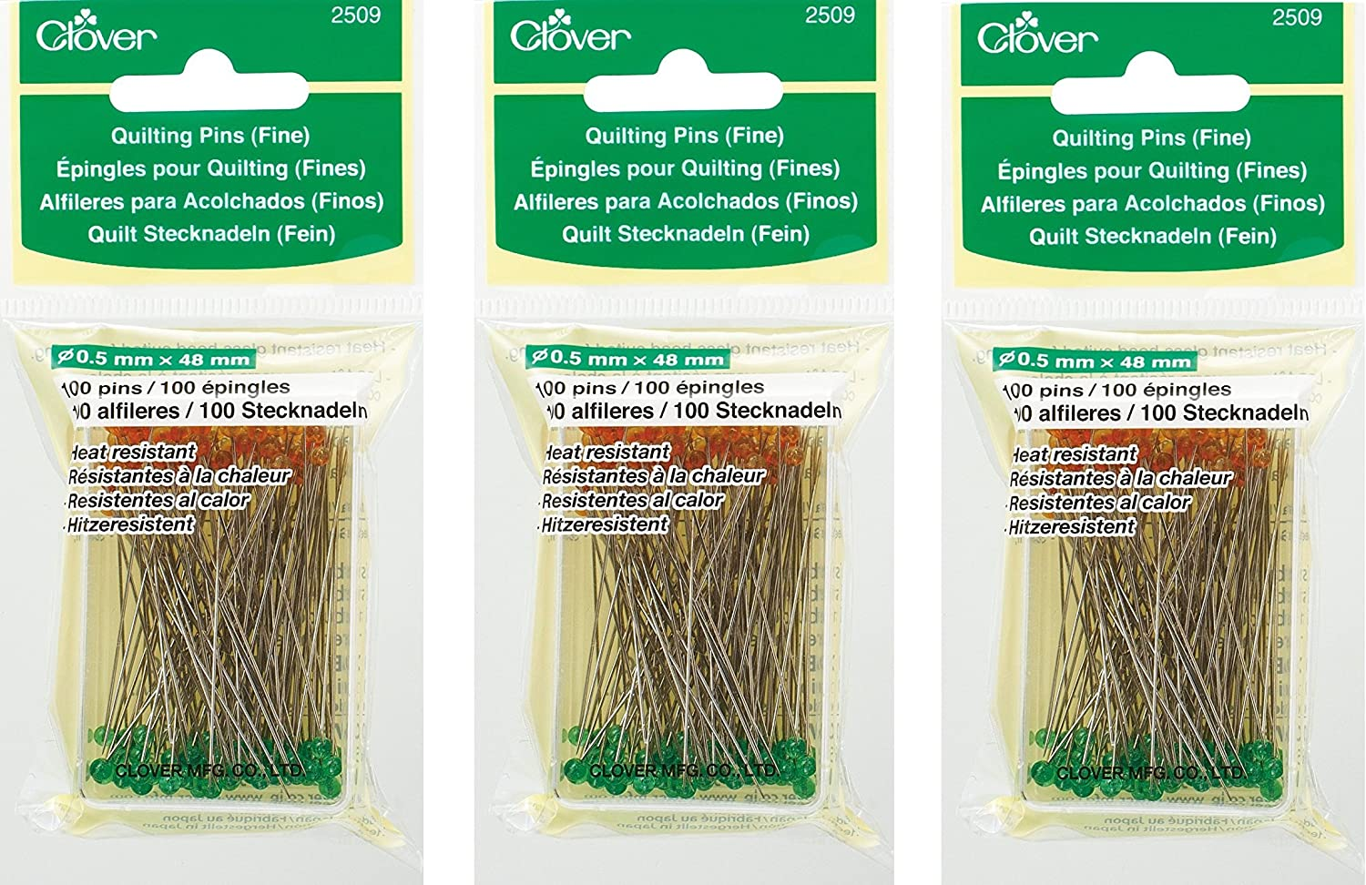 Clover Quilting Pins, Fine (3 Pack)