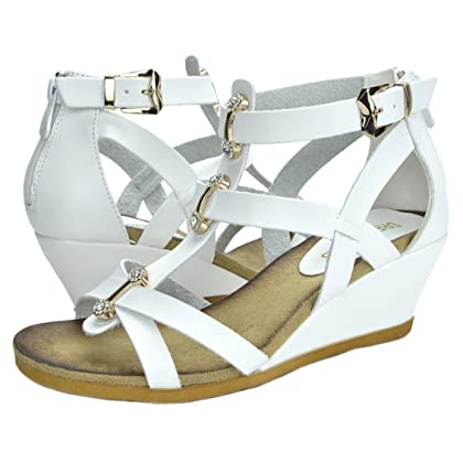 87a2ee64eaa45 ... DREAM PAIRS Mulan Womens Gladiator Adjustable Buckles Straps Low Wedge  Back Zipper Summer Sandals White Size ...
