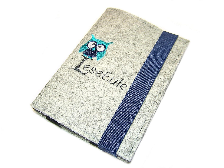 Ma/ßanfertigung Stickerei Wollfilz Filz aufklappbare eBook Reader eReader H/ülle LeseEule inkl