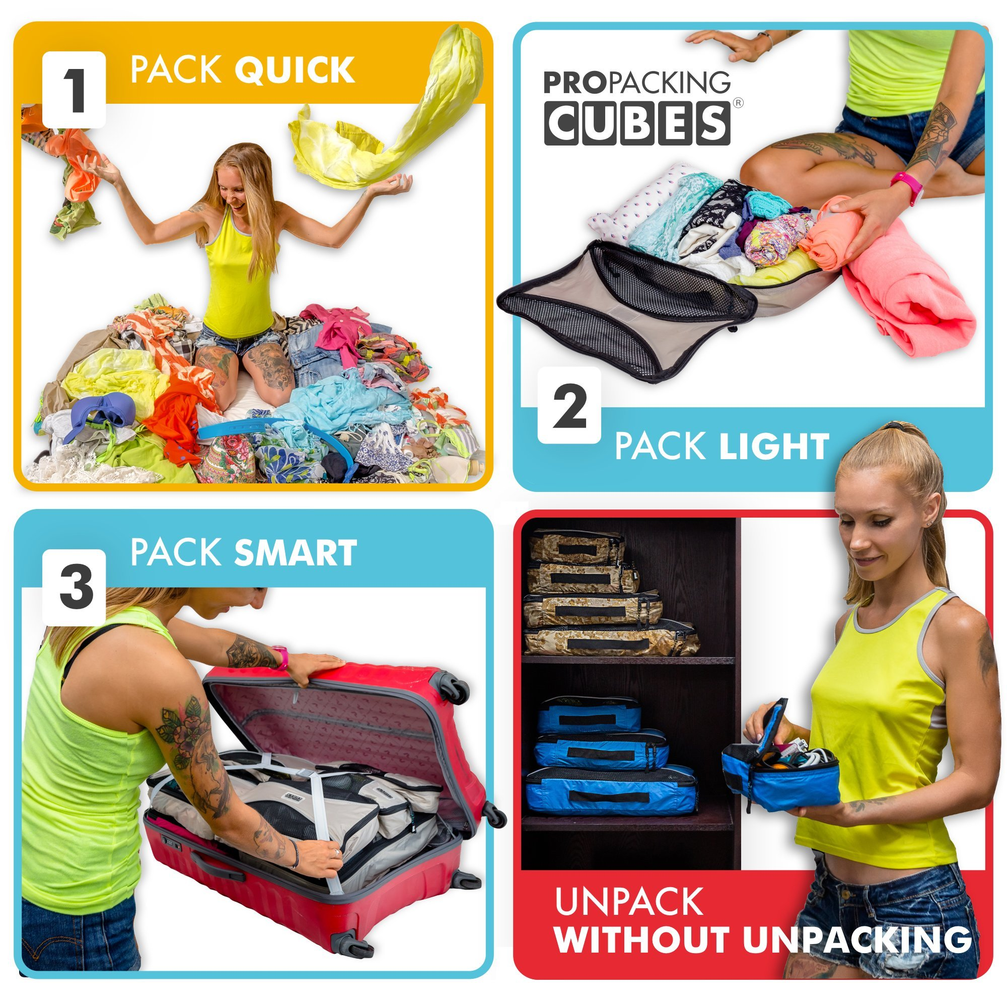 PRO Packing Cubes  Lightweight Travel - Packing for Carry-on Luggage, Suitcase and Backpacking Accessories Set, Mixed Colors - 4 Piece by Pro Packing Cubes (Image #7)