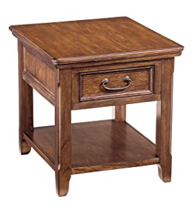 Ashley Furniture Signature Design - Woodboro Chair Side End Table - Rustic Style Accent Table - Square - Dark Brown