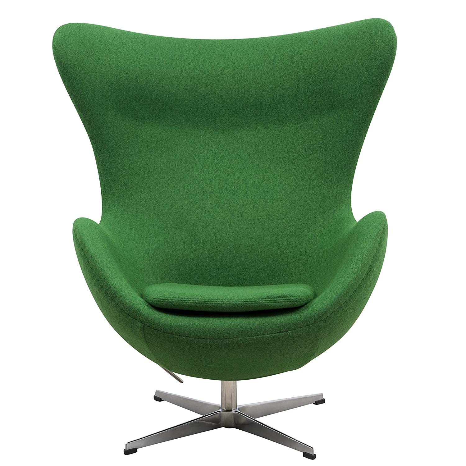 LeisureMod Modena Mid-Century Fabric Accent Egg Chair With Tilt-Lock Mechanism In Green Wool