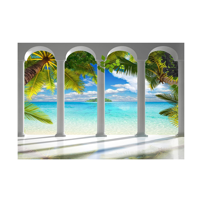 decomonkey Fototapete selbstklebend Meer Insel 392x280 cm XL Selbstklebende Tapeten Wand Fototapeten Tapete Wandtapete klebend Klebefolie Architektur Palmen Himmel FOC0029a84XL