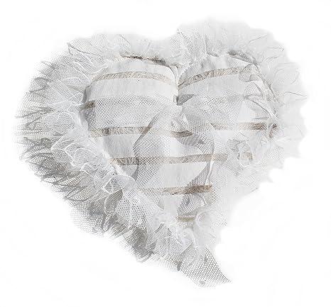 Corazón de cojín para alianzas Shabby Chic Vintage Decoración Corazón de plástico