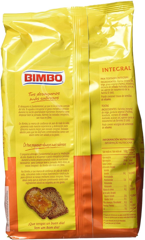 Bimbo - Pan Tostado Integral 30 Rebanadas 270 g: Amazon.es: Alimentación y bebidas