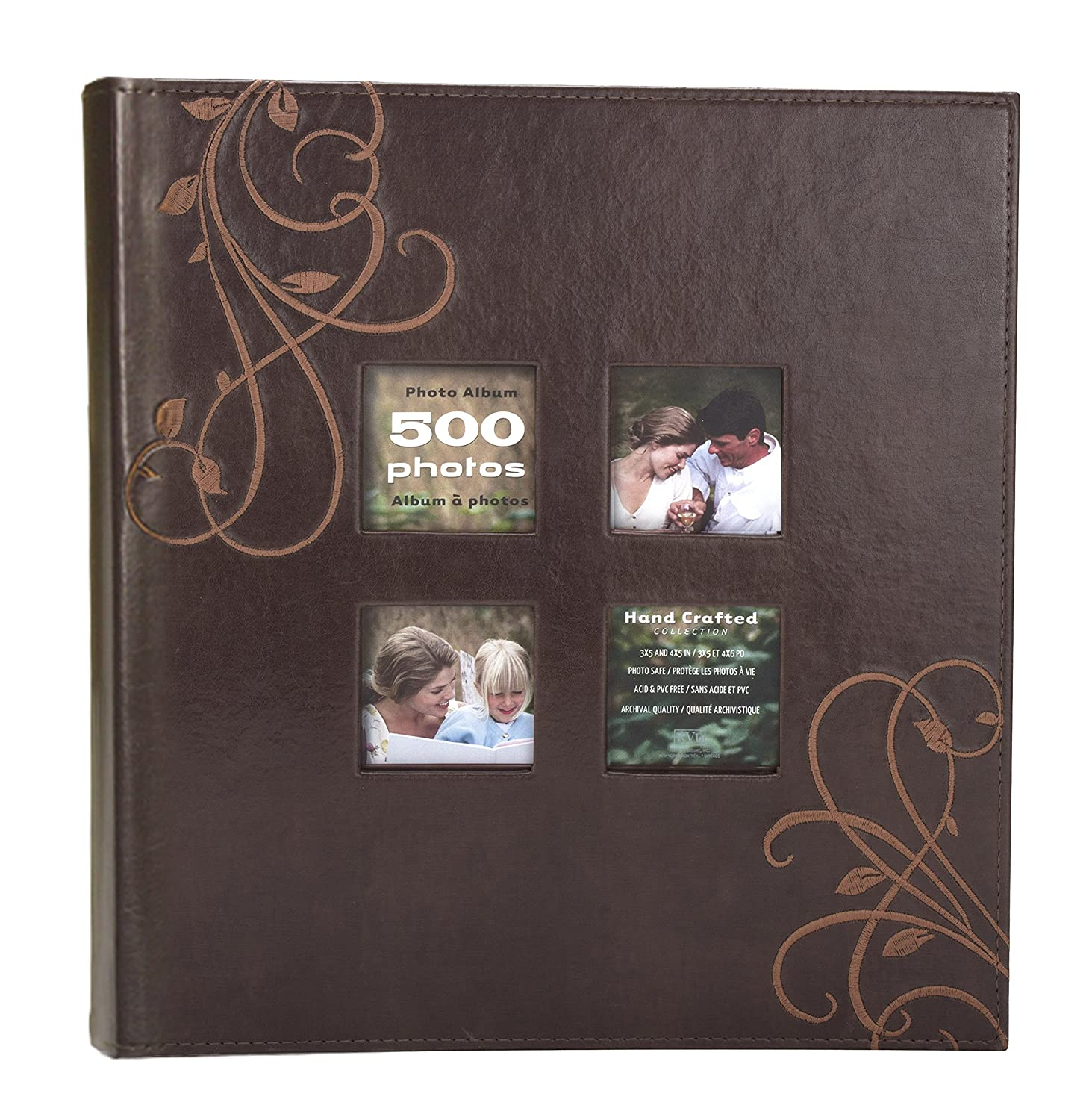 Kleer-Vu Photo Embroidery Leather Collection, Holds 500 4x6 inches Photos, 5 Per Page - Brown. Kleer-Vu Deluxe Albums Inc. 90738