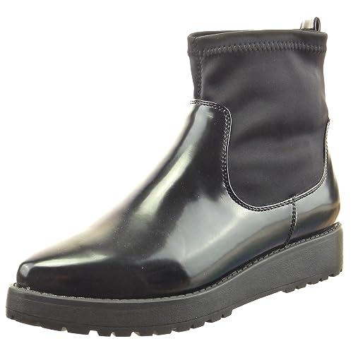 Sopily - Zapatillas de Moda Botines Botas de Guma de Lluvia Flexible Tobillo Mujer Talón Plataforma 3 CM - Negro CAT-3-DH935 T 41: Amazon.es: Zapatos y ...