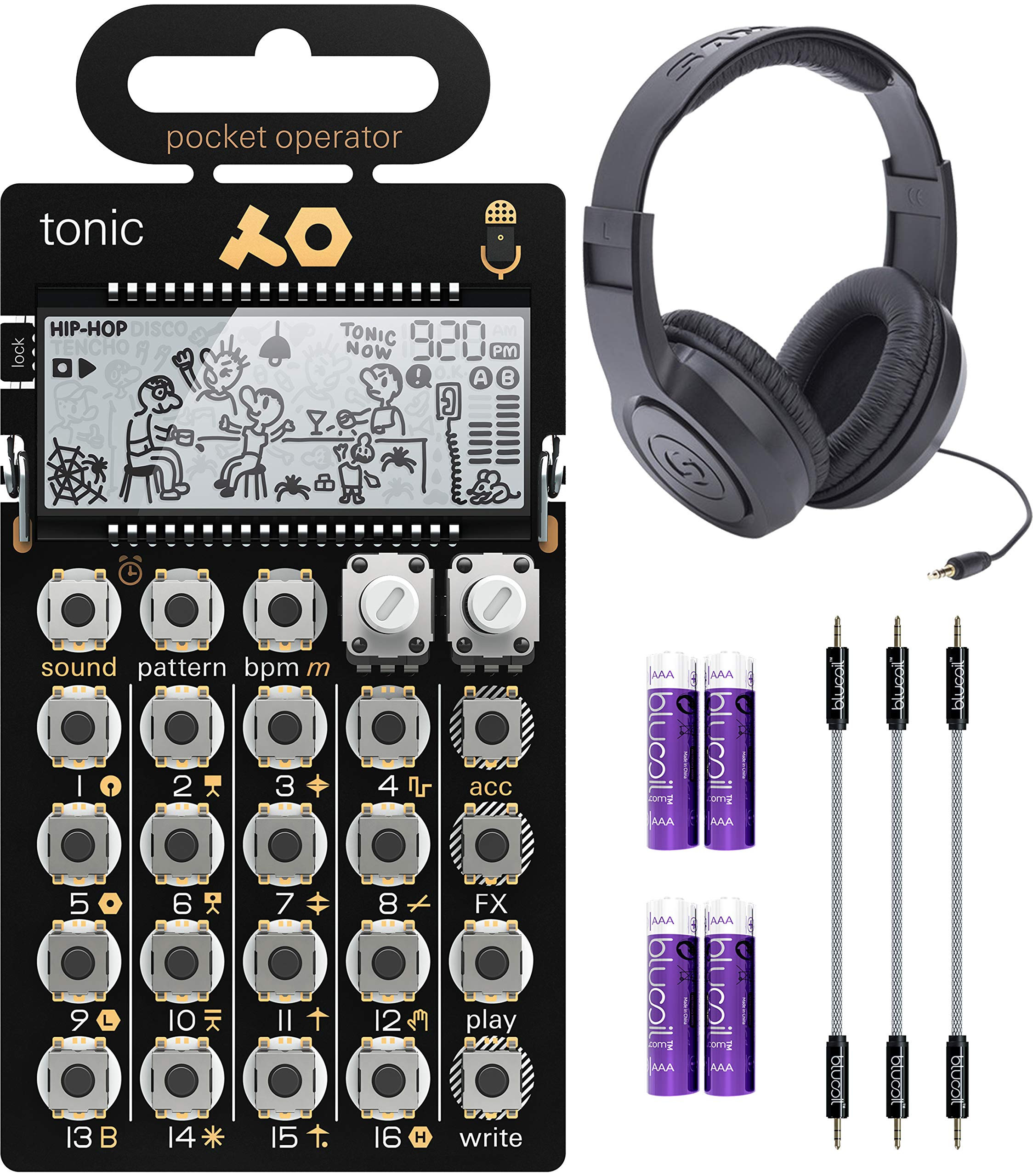 Teenage Engineering PO-32 Pocket Operator Tonic Drum Synth Bundle with Samson SR350 Over-Ear Closed-Back Headphones, Blucoil 3-Pack of 7'' Audio Aux Cables, and 4 AAA Batteries by blucoil