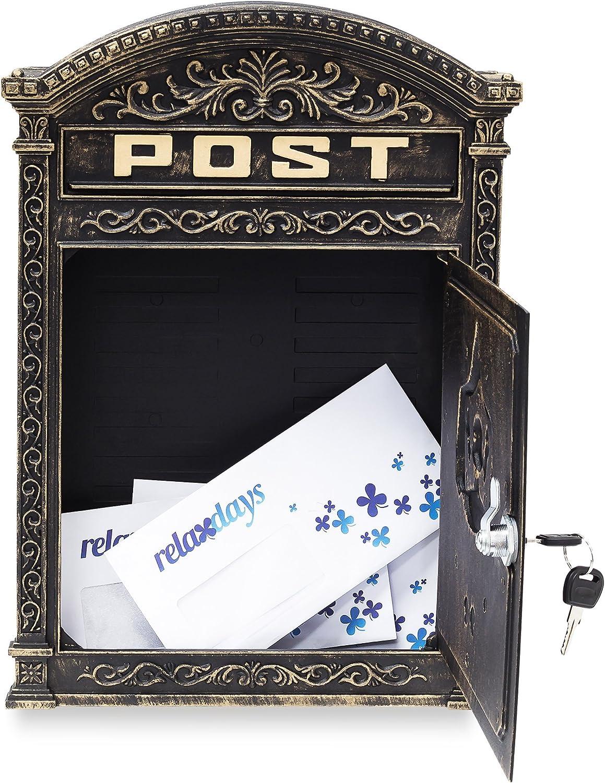 bronze Relaxdays Briefkasten Antik Englischer Wandbriefkasten aus Aluguss mit breitem Briefschlitz f/ür DIN A4 Umschl/äge HBT 44,5 x 31 x 9,5 cm nostalgischer Postkasten mit rundem Dach