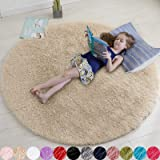 Beige Round Rug for Bedroom,Fluffy Circle Rug 4'X4' for Kids Room,Furry Carpet for Teen's Room,Shaggy Circular Rug for Nurser