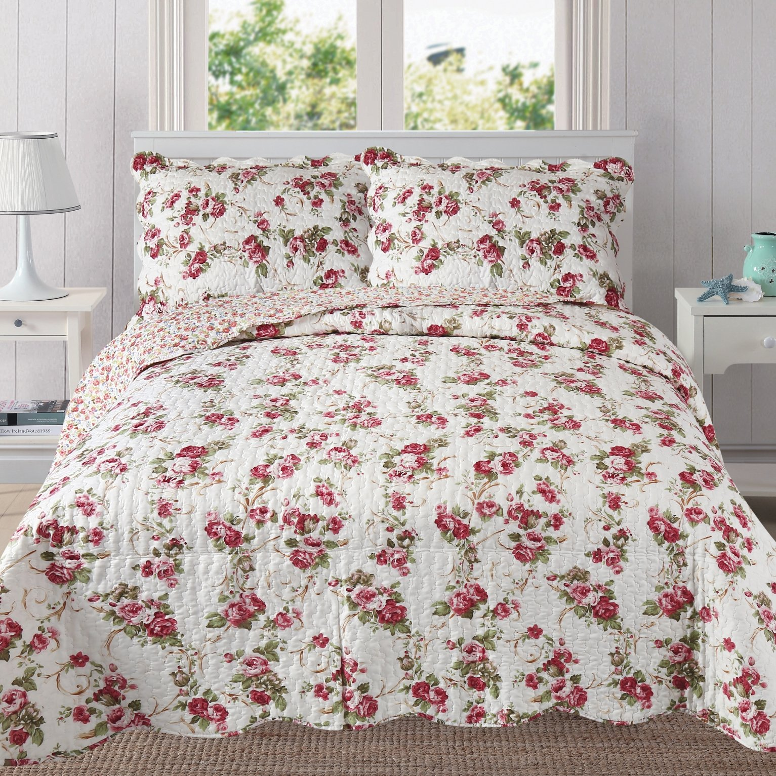 Mohap Reversible Quilt Set with Shams Queen Size Hypoallergenic for All Season Pattern#12