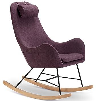 Ausgefallene Sessel designer schaukel stuhl aus stoff mit armlehnen lila rocha
