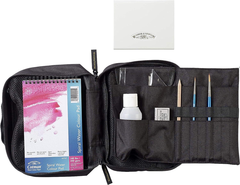 1 bloc y accesorios Bolsa de viaje caja 12 medio godets pincel Acuarela Cotman Winsor /& Newton
