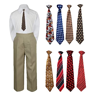 becc63fe7 3pc New Born Baby Boy Teen Formal Dress Khaki Pants Shirt Necktie Sm-7