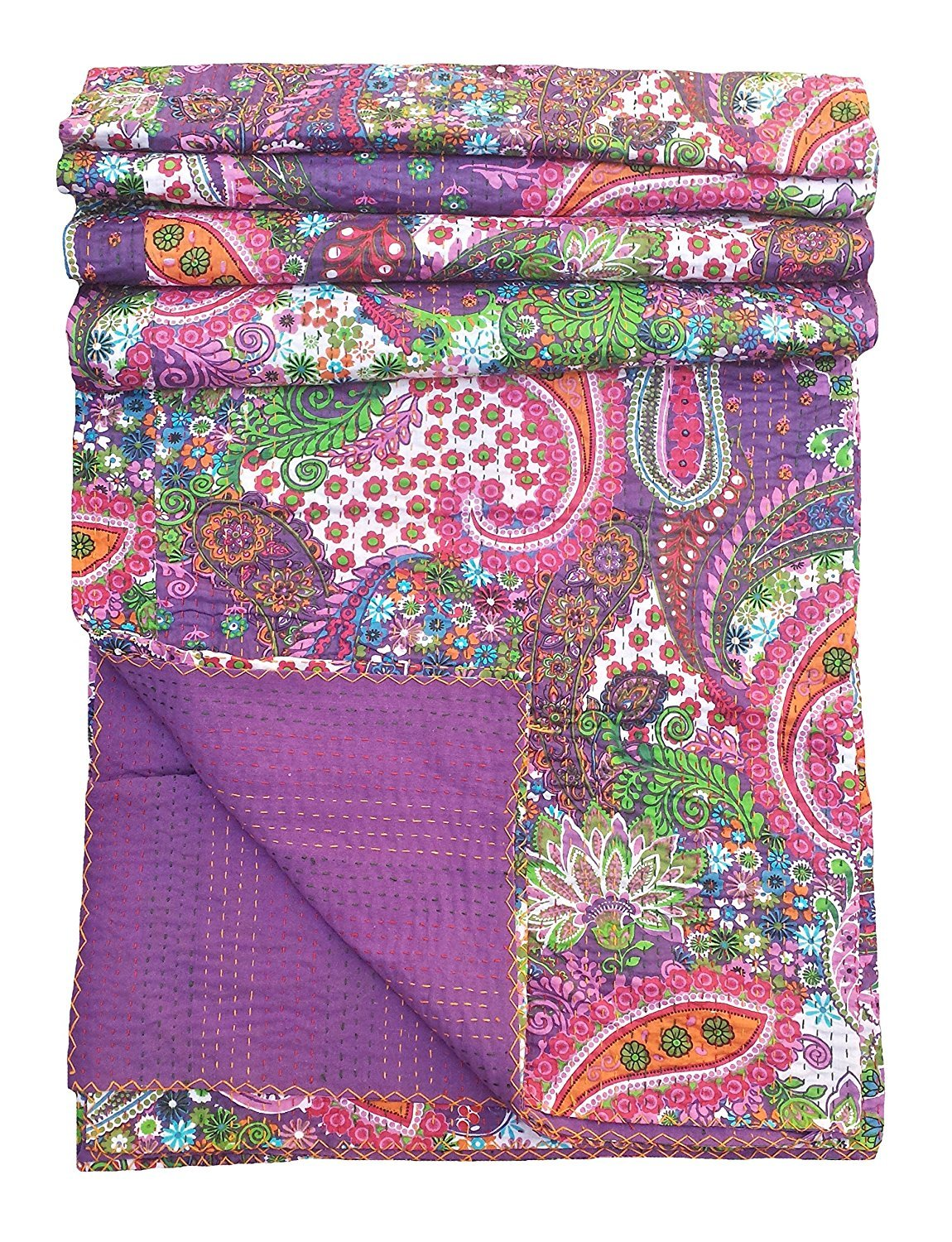 INDIAN CREATIONS Multicolor Paisley Print King Size Kantha Quilt, Kantha Blanket, Bed Cover, King Kantha bedspread, Bohemian Bedding Kantha Size 90 Inch x 108 Inch