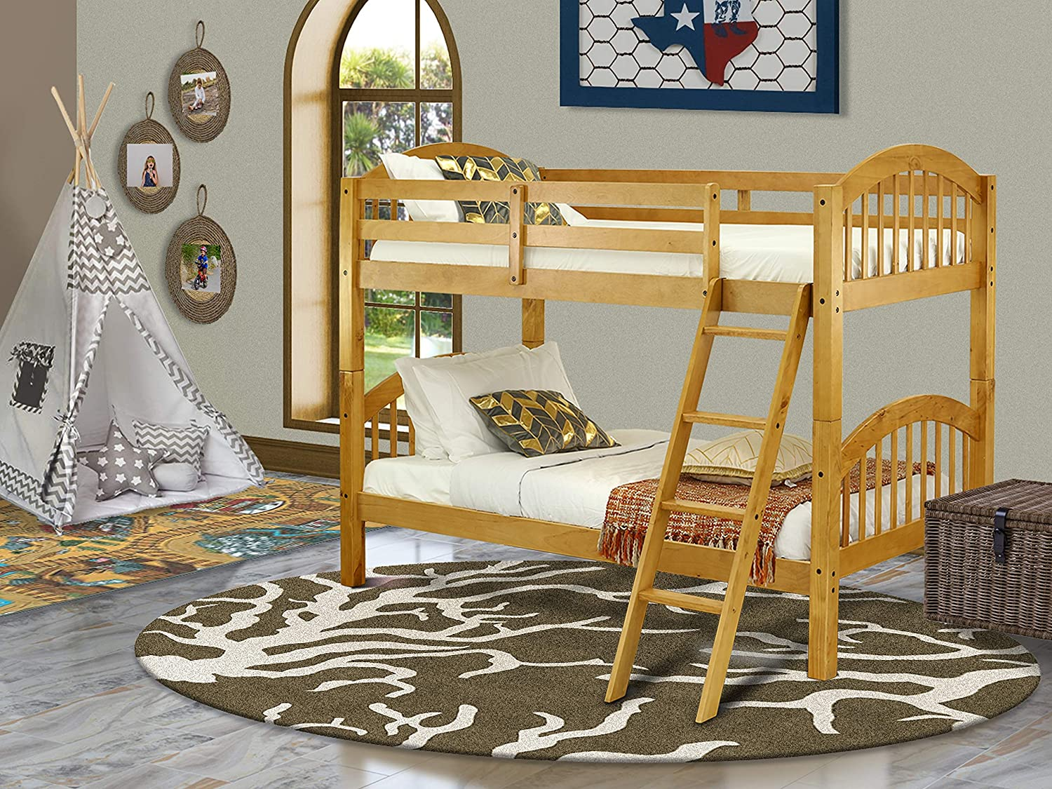 East West Furniture Real Wood Bunk Beds Twin with 4-Step Ladder and Safety Rail, Oak Finish