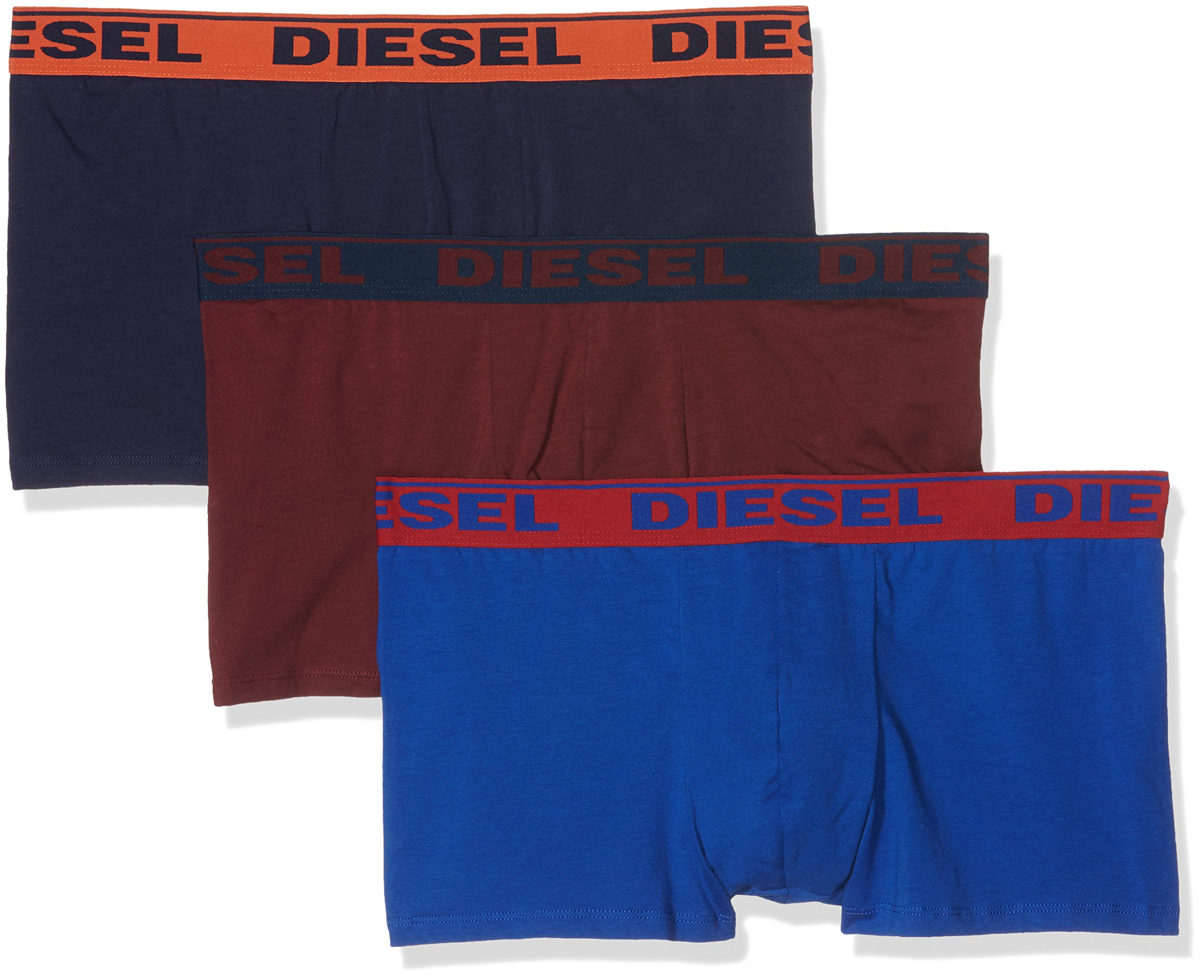 Diesel Men's 3-Pack Shawn Stretch Boxer Trunk, Royal Blue/Burgundy/Navy, X-Large