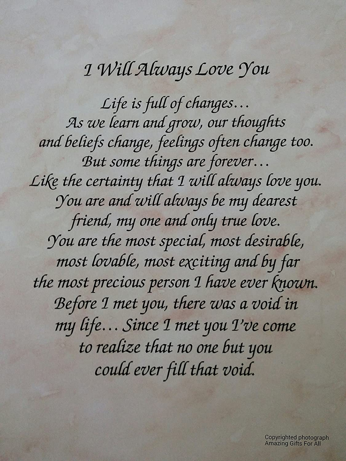 amazon com anniversary gift i will always love you poem for wife