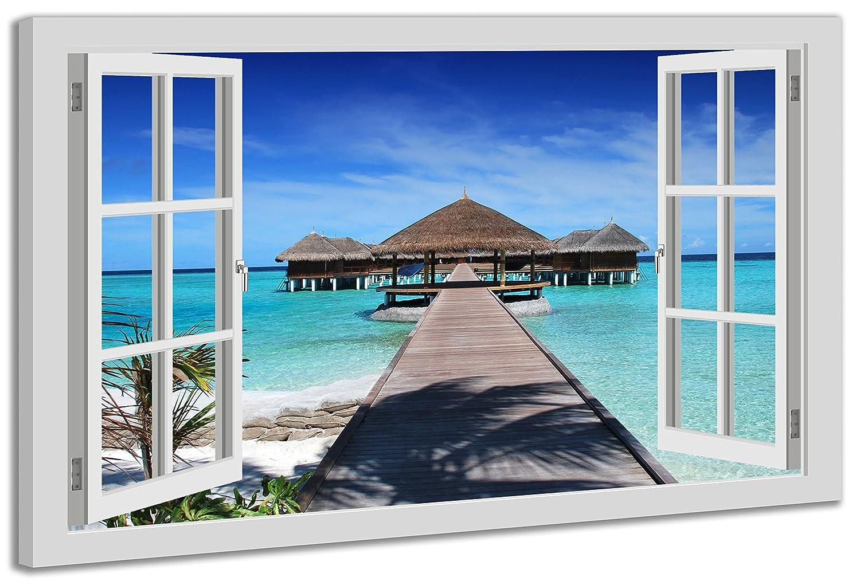 Ayra- Leinwandbild Wandbild Fensterblick Malediven-Meer Strand Ozean ...