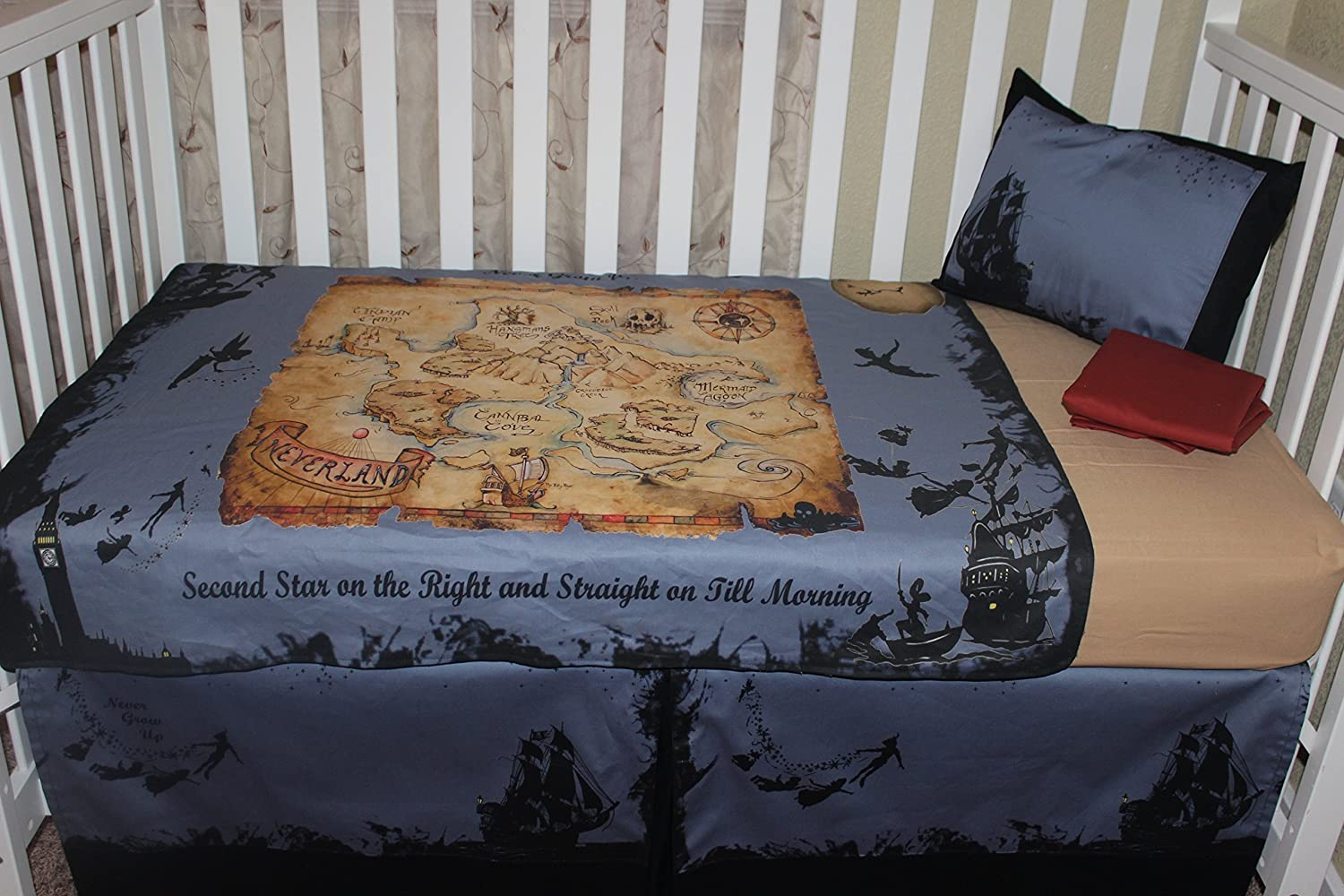 Pcs peter pan bedding set duvet cover fitted sheet pillow case worl - Pcs Peter Pan Bedding Set Duvet Cover Fitted Sheet Pillow Case Worl 5