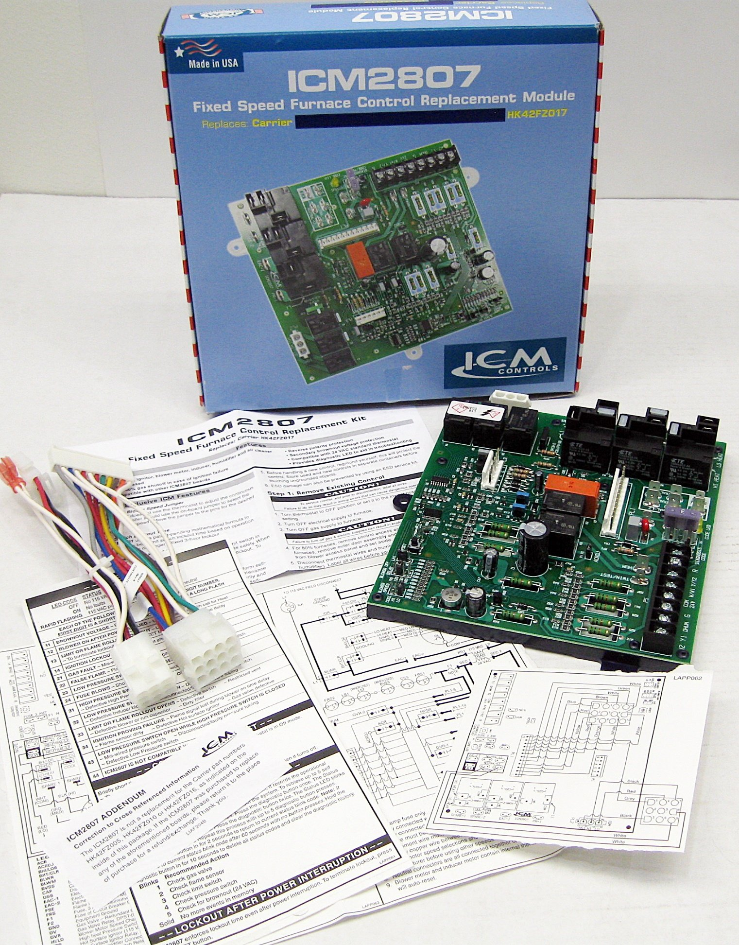 ICM Controls ICM2807 Furnace Control Board OEM Replacement Carrier for 325879-751 and HK42FZ017