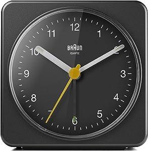 Braun Classic Analogue Alarm Clock with Snooze and Light, Quiet Quartz Sweeping Movement, Crescendo Beep Alarm in Black, Model BC03B.