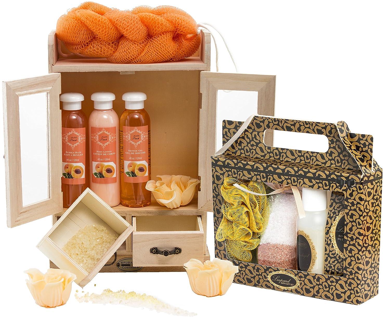 BRUBAKER Cosmetics - Coffret de bain - Pêche / Vanille - 15 Pièces - Armoire en Bois - Idée cadeau